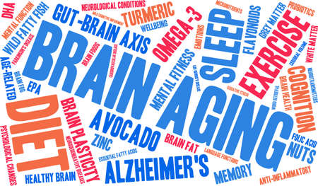 anti aging: Brain Aging word cloud on a white background.