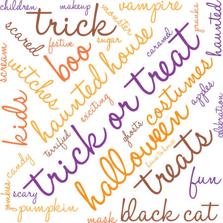 Trick Or Treats word cloud on a white background.