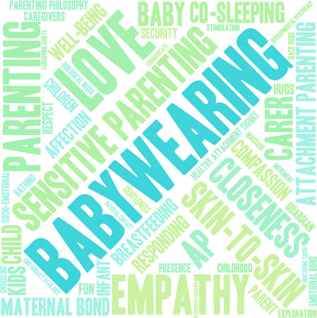 gentleness: Baby Wearing word cloud on a white background.