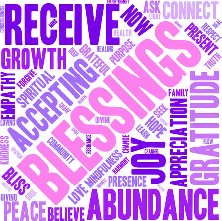 Blessings word cloud on a white background.