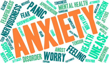 health concern: Anxiety word cloud on a white background. Illustration
