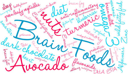anti aging: Brain Food word cloud on a white background.