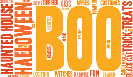 Boo word cloud on a white background. Ilustração