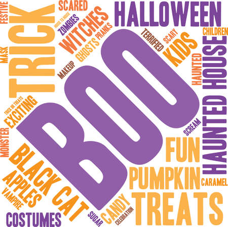 exciting: Boo word cloud on a white background. Illustration