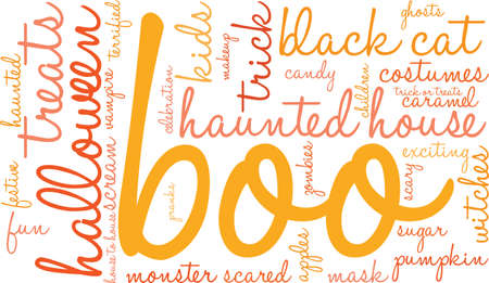 pranks: Boo word cloud on a white background. Illustration