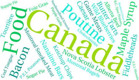 grunt: Canada Food word cloud on a white background.