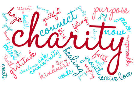 unconditional: Charity word cloud on a white background. Illustration