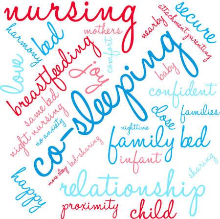 developmental: Co-Sleeping word cloud on a white background. Illustration