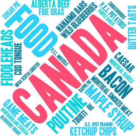 alberta: Canada Food word cloud on a white background.