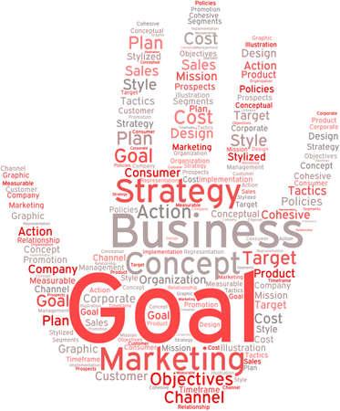 白い背景にビジネス目標の単語の雲。
