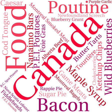 bagels: Canada Food word cloud on a white background.