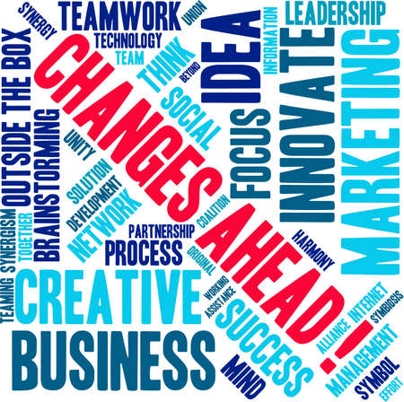 Changes Ahead word cloud on a white background.