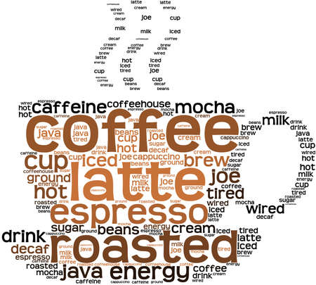 decaf: Coffee word cloud on a white background.