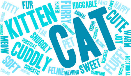 Cat word cloud on a white background. Ilustrace
