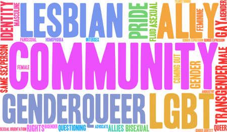 LGBT のコミュニティは、白い背景に雲を単語します。