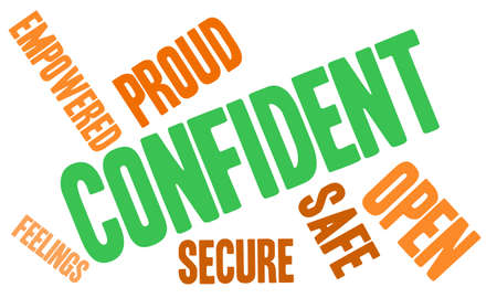 confident: Confident word cloud on a white background.