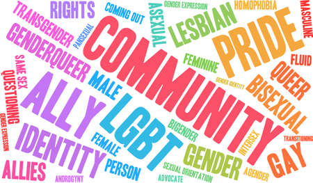 homophobia: Community LGBT word cloud on a white background.
