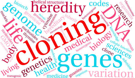 heredity: Cloning word cloud on a white background.