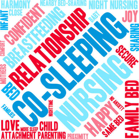 Co-Sleeping word cloud on a white background. Ilustrace