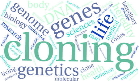 clonacion: La clonación de nube de palabras sobre un fondo blanco.