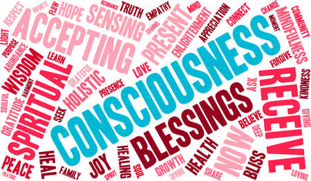 consciousness: Consciousness word cloud on a white background.