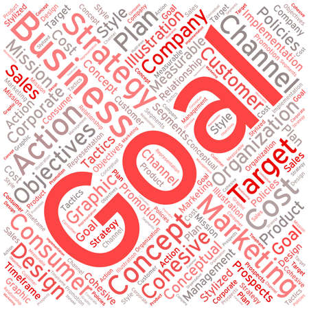 Business Goal word cloud on a white background. Illustration