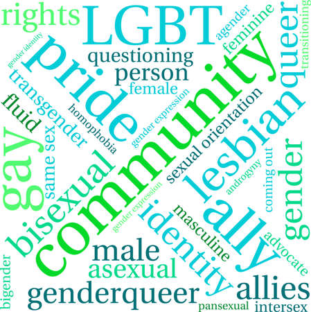 Community LGBT word cloud on a white background.