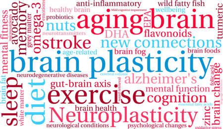 Brain Plasticity word cloud on a white background. Ilustracja