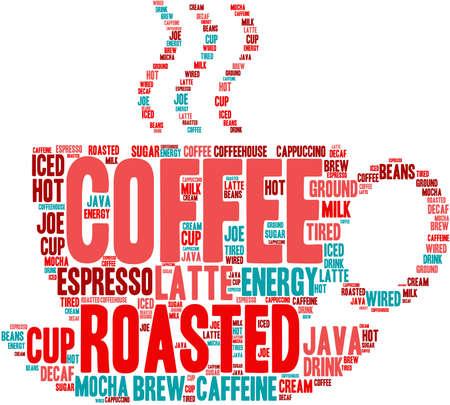 Koffie woord wolk op een witte achtergrond.