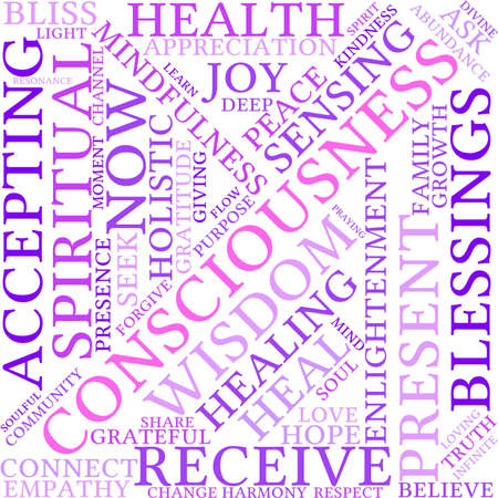 spiritual growth: Consciousness word cloud on a white background.