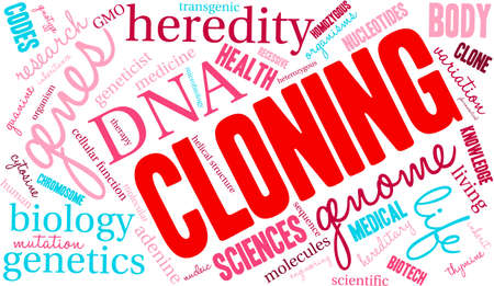 thymine: Cloning word cloud on a white background.