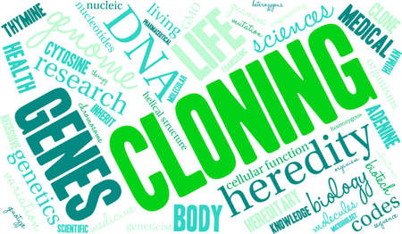 Cloning word cloud on a white background.