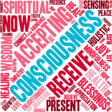 channeling: Consciousness word cloud on a white background.