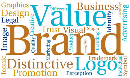 distinctive: Brand word cloud on a white background.
