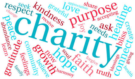 Charity word cloud on a white background. Иллюстрация
