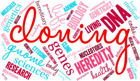 cloning: Cloning word cloud on a white background.