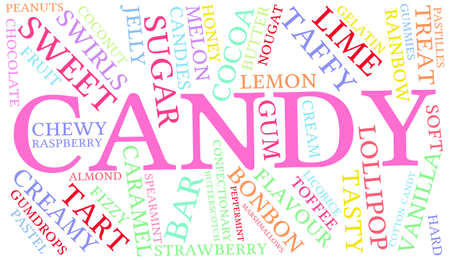 gelatin: Candy word cloud on a white background.