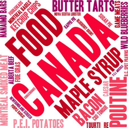 白い背景の上のカナダ食品の単語の雲。