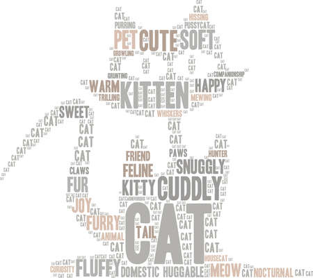 Cat word cloud on a white background. Иллюстрация