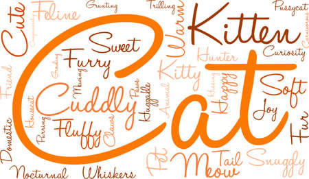 growling: Cat word cloud on a white background. Illustration