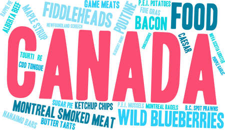 Canada Food word cloud on a white background.