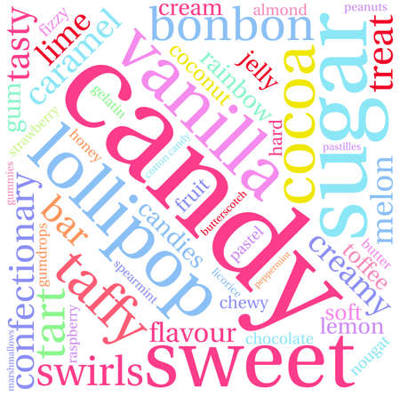 chocolate swirl: Candy word cloud on a white background.