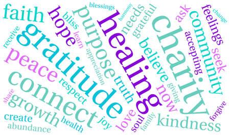 白地に慈善団体の単語の雲。  イラスト・ベクター素材