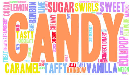 fizz: Candy word cloud on a white background.