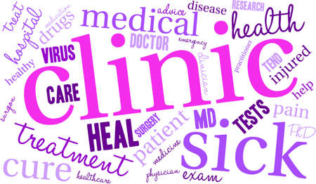 Clinic word cloud on a white background.