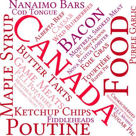Canada Voedsel word cloud op een witte achtergrond. Stock Illustratie
