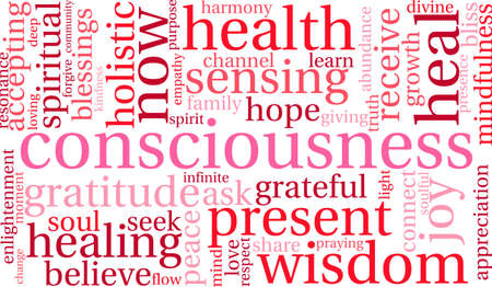 Consciousness word cloud on a white background.