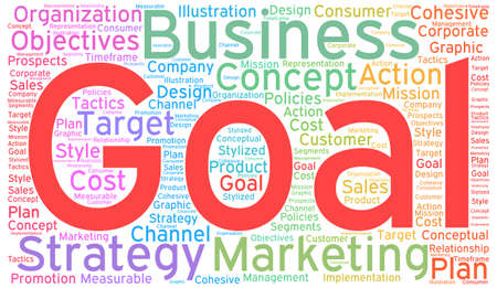 cohesive: Business Goal word cloud on a white background. Illustration