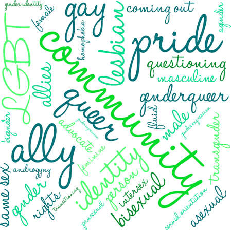 asexual: Community LGBT word cloud on a white background.