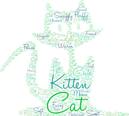hissing: Cat word cloud on a white background. Illustration